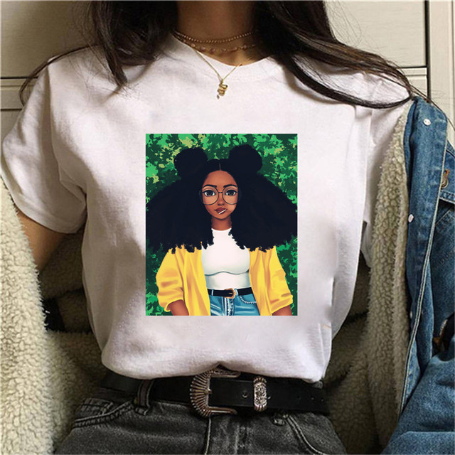 Black Girl Curly Hair T Shirt Girl Aesthetic Anime Clothes Summer Clothes For Women Hippie White Top Summer Top Street Wear T Shirts Aliexpress