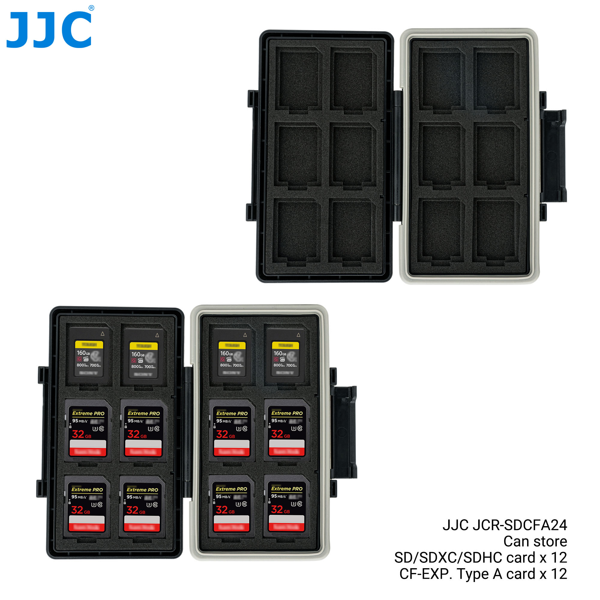 JJC 24 Slots Waterproof Memory Card Case Holder Wallet Organizer for 12 SD SDHC SDXC 12 CFexpress Type-A Card Storage Box Keeper