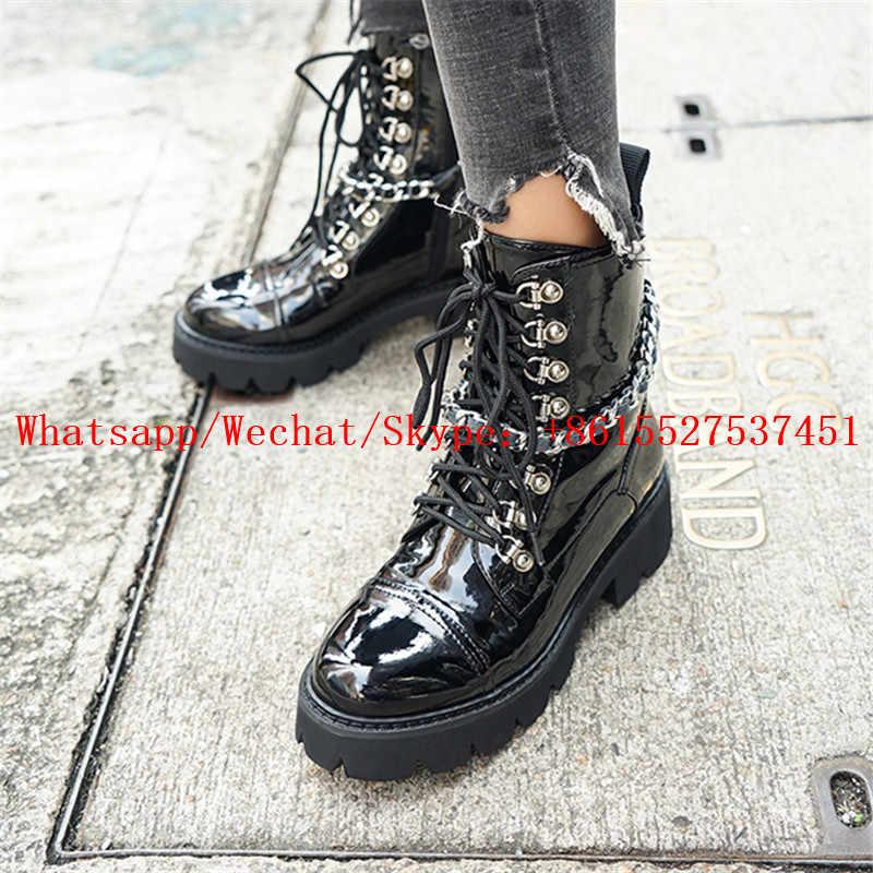 INS/Лидер продаж; женские ботинки; Зимние ботильоны с металлическими цепочками; черная обувь из лакированной кожи на платформе; женские брендовые Ботинки Martin; Botas Mujer