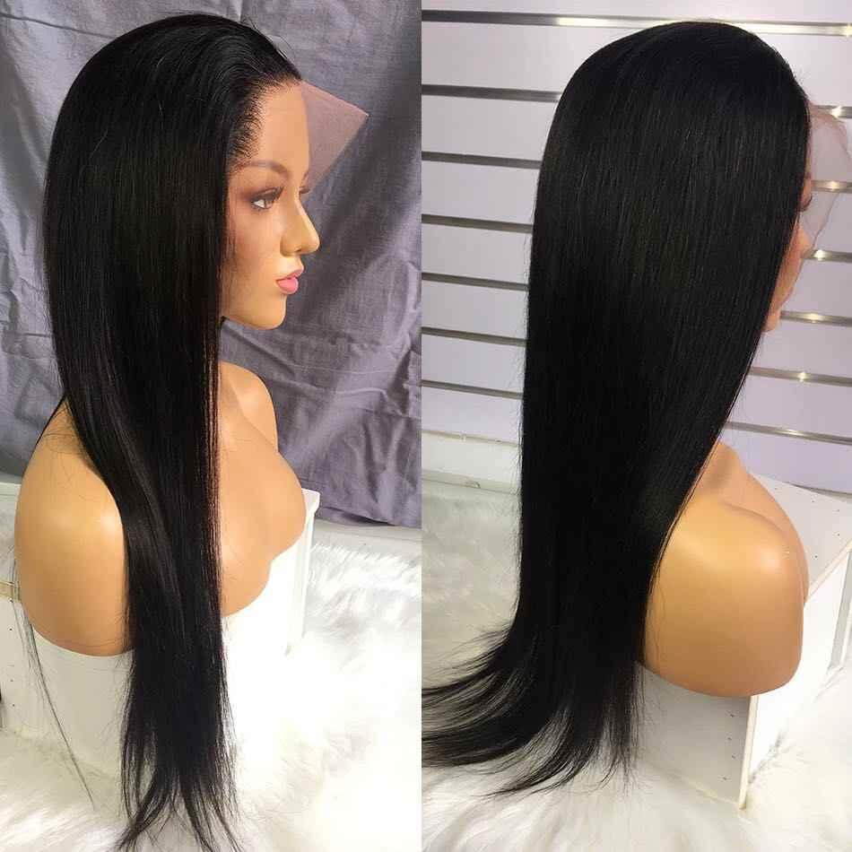 Pelucas de cabello humano Frontal de encaje 13X4, pelucas frontales de encaje recto, pelucas con frente de encaje Remy, pelucas con minimechones brasileños de encaje recto Frontal