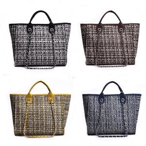 Image 3 - Ansloth Winter Classic Plaid Womens Handbags Woolen Bag For Women Shoulder Bags Patchwork Chain Bag Large Top Handle Bag HPS217