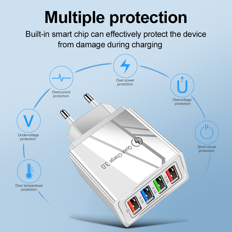 4 Port Quick Charge 3.0 Phone Charger Adapter For iPhone 11 Pro XS MAX Xiaomi 10 Redmi 8 8A Portable Wall Fast Charging Charger