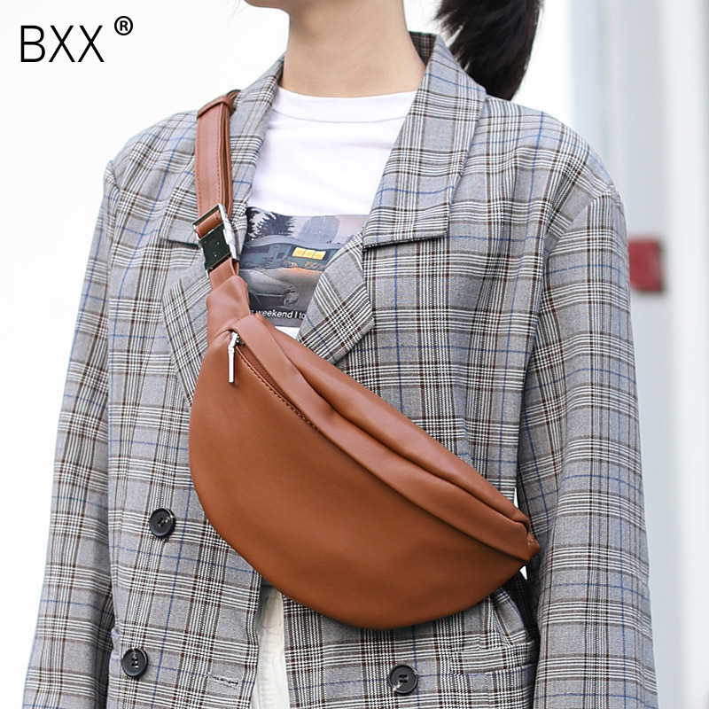 [BXX] Fashion Quality PU Leather Crossbody Bags For Women 2020 Spring Shoulder Messenger Bag Lady Travel Chest Waist Bag HK642