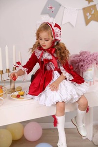 Image 5 - 4PCS Mädchen Herbst Winter Frühling Rot Samt Vintage Spanisch Prinzessin Lolita Bommel Ball Weihnachten Geburtstag Hochzeit Party Kleid