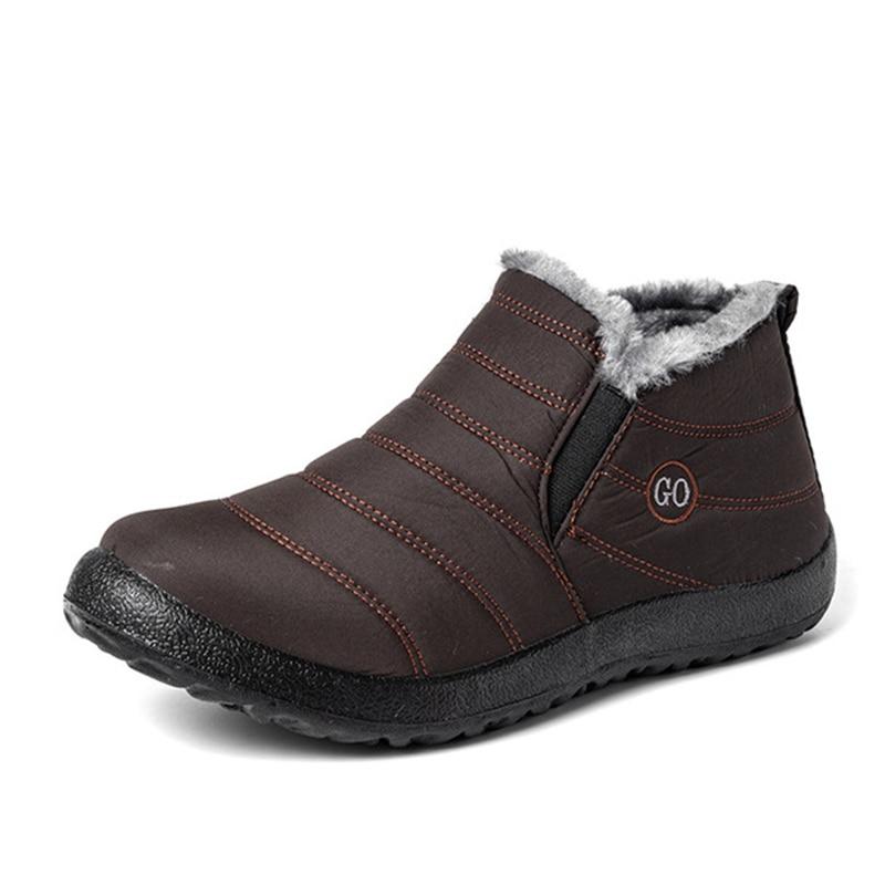 Snow Boots Women Shoes Warm Plush Fur Ankle Boots Winter Female Slip On Flat Casual Shoes Waterproof Ultralight Footwear 32