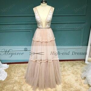 Image 2 - Mryarce Unique Wedding Dress Sleeveless V Neck Boho Hippie Style Whimsical Ruched Skirt Tulle Bridal Gowns