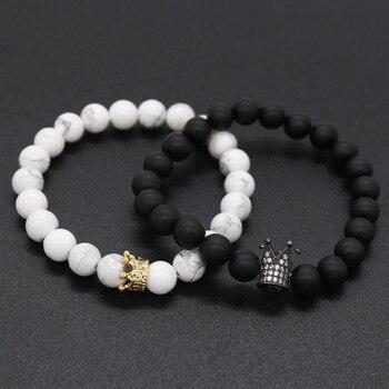 Bracelets couple roi et reine Noir et blanc