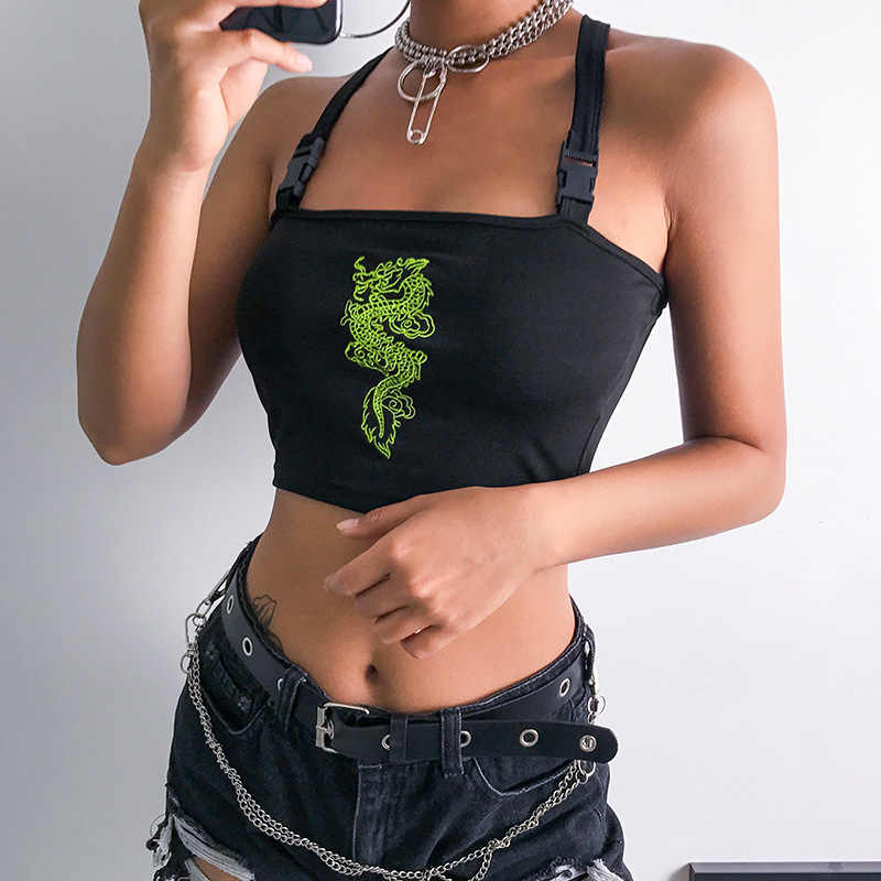 ArtSu kobiety Harajuku Crop Top Sexy Camis haft smok Top Top bez rękawów Backless klamra Top Cami Streetwear ASVE20543