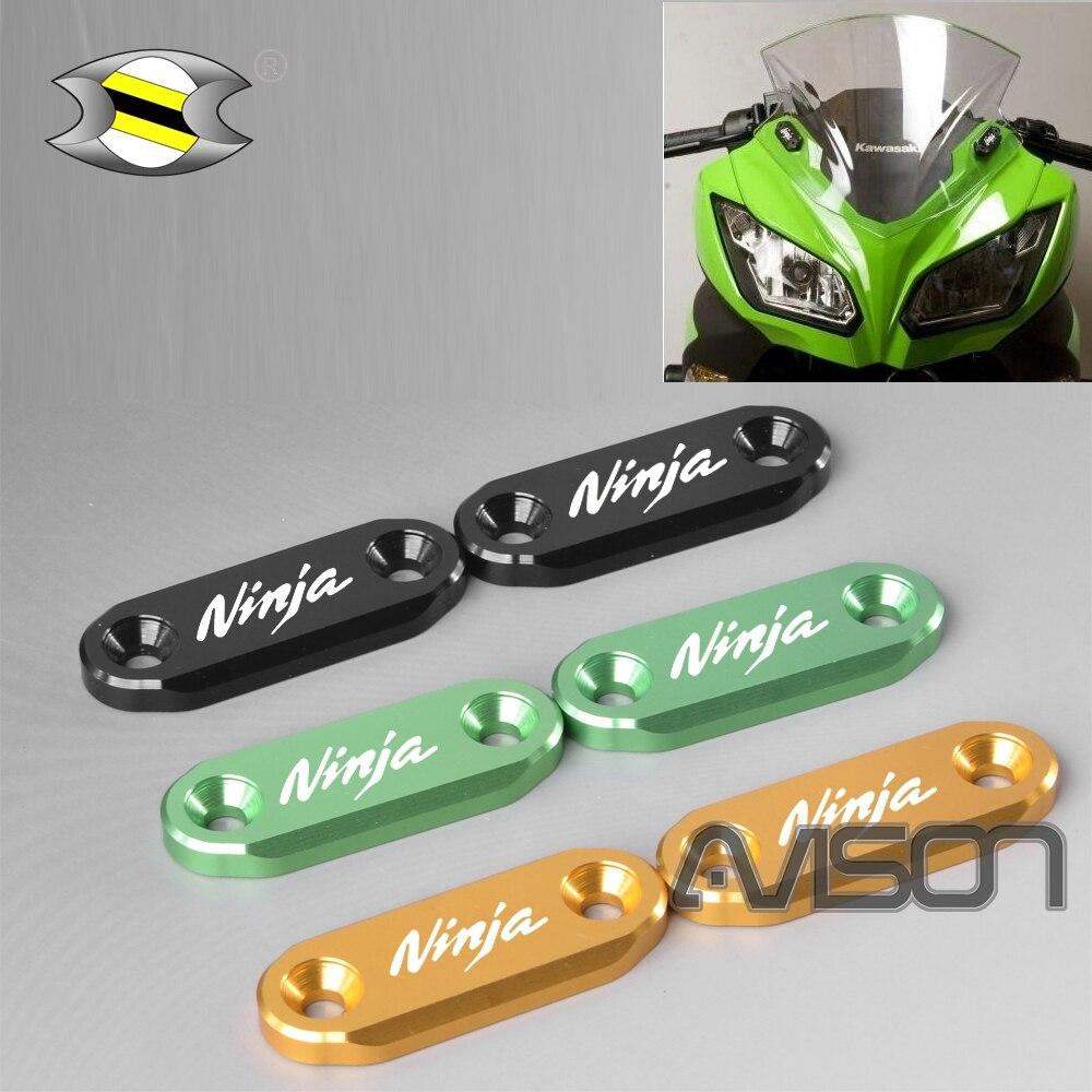 Para ninja300 400 650 zx6r espelho bloco fora placas superior carenagens proteger construção de alumínio anodizado