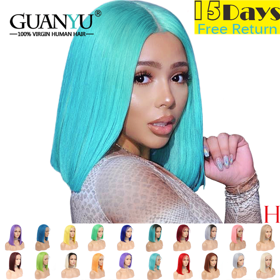 """Blue Bob Lace Front Wigs 13X4 8""""-24"""" High Ratio Preplucked 613 Blonde Purple Green Ombre Colored Human Hair Wigs Brazilian Remy"""