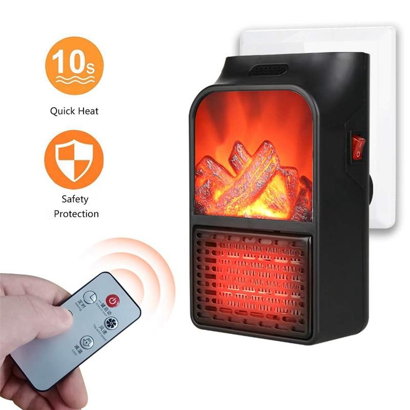 EU Plug Heater, Mini Heater Fan, with Heater Overheat Protection 180° Rotation, Electric Fireplace Flame Heater Office Home Inte