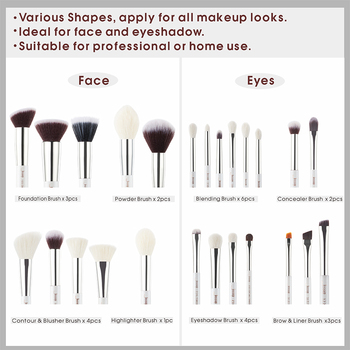 Jessup makeup brushes 25pcs White/Silver Synthetic/Natural Hair pincel maquiagem Eyeshadow Foundation Highlighter brushes T235 4