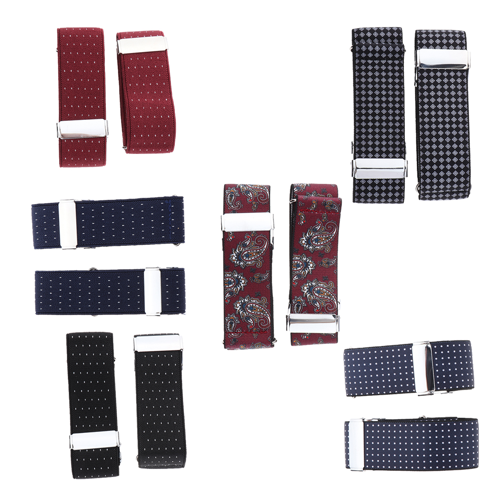 Gentleman Formal Shirt Armband Men's Shirt Sleeve Print Armband Elastic Cuff Holder With Strong Metal Clip