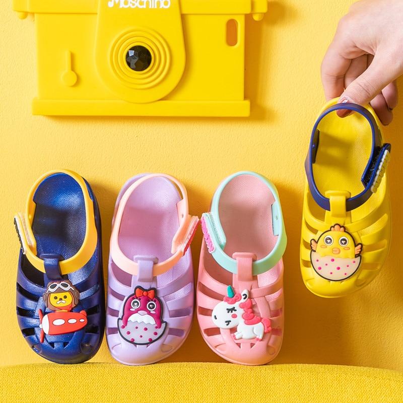 Cartoon unicorn summer baby girls sandals infant toddler princess kids shoes children sandals breathable pvc flats sandal new