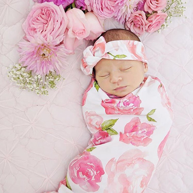 2Pcs Sweet Dream Floral Cotton Newborn Toddler Baby Girl Swaddle Blanket Sleeping Swaddle Muslin Wrap Headband