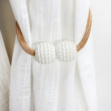 Curtain-Tie Buckle Accessoires Beaded Magnetic-Pearl-Ball Backs AT183 2pcs/Set