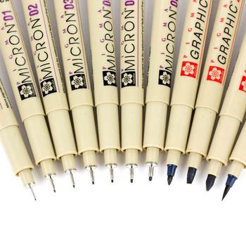 1 sztuk czarny długopis Pigma Micron wodoodporna ręcznie rysowane projekt szkic końcówka igłowa ręcznie Dawing Liner Fineliner Cartoon długopis Signature tanie i dobre opinie Pojedyncze (AE存量)* 7 Art marker Luźne