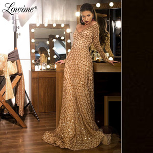 Image 1 - Champagne Gold Sequins V Neck Party Dress For Weddings 2020 Cheap Evening Dress Formal Long Prom Dresses Robe De Soiree
