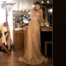 Şampanya altın Sequins V boyun parti elbise düğün için 2020 ucuz abiye resmi uzun balo kıyafetleri Robe De Soiree