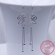 Женские серьги подвески из серебра 925 пробы с бабочкой и бусинами