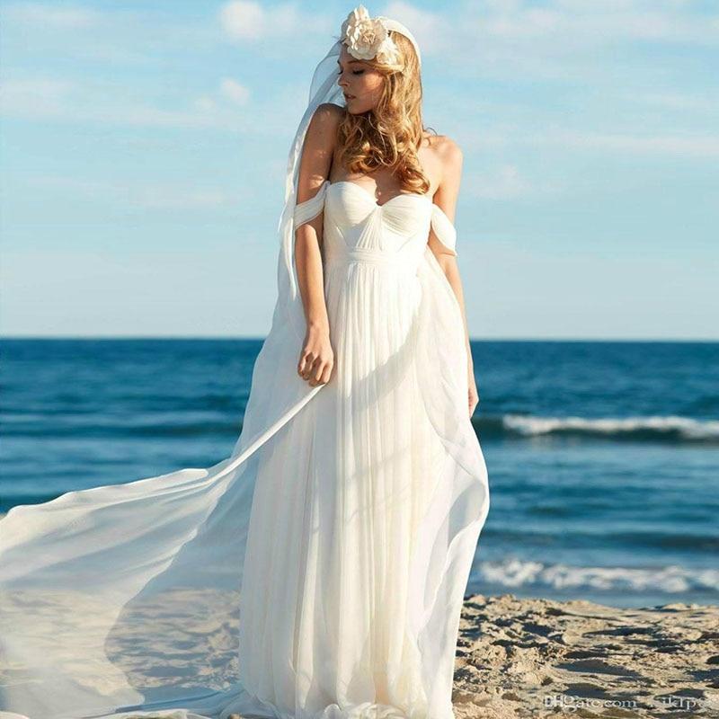 Eightale Beach Wedding Dress 2019 Off The Shoulder Pleats Chiffon Backless A-Line Wedding Dress Long White Ivory Bridal Dress