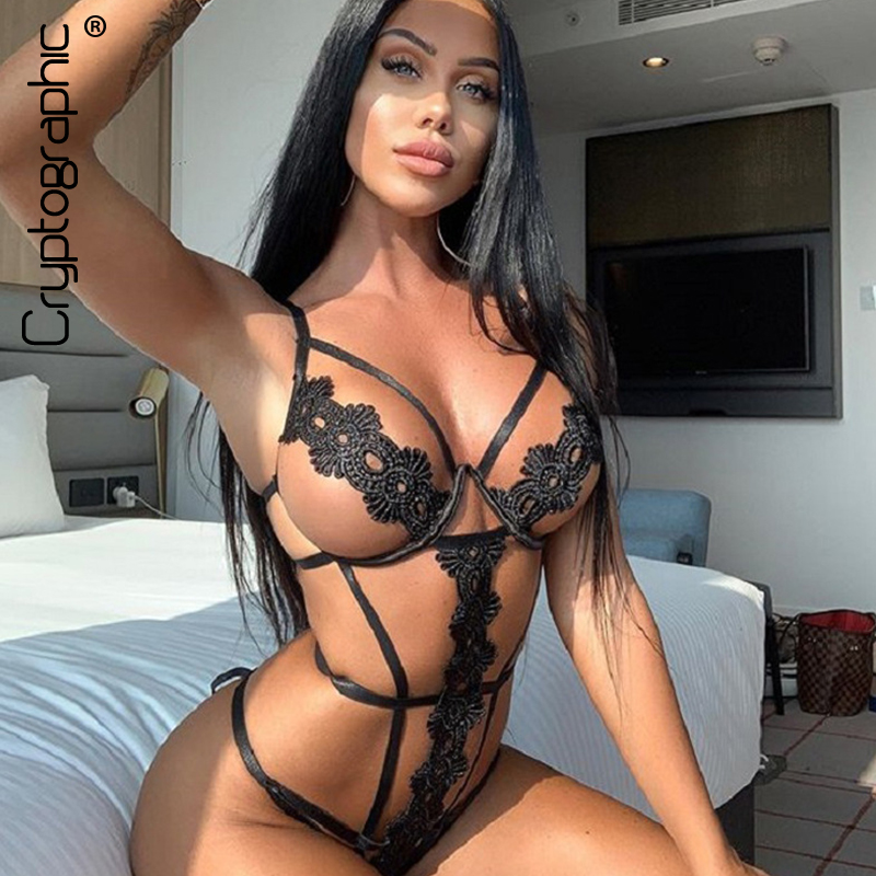Cryptographic Black Hot Sexy Strappy Bodysuits Party Club Female Body Floral Bandage Sleeveless Backless Bodysuit Thong Slim