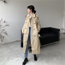 Fashion Turn-down Collar Trench-coat for Women Autumn New Long-sleeved Striped Double-Breasted Casual Streetwear Khaki Long-coat