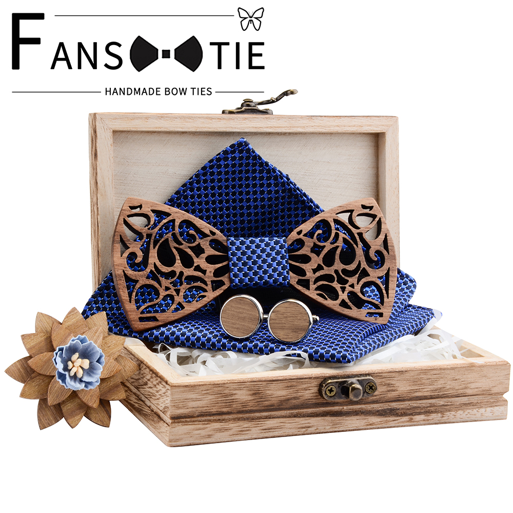 Fashion Hollow Carve Wood Bowtie Pocket Square Cufflinks Brooch Set Red Blue Floral Bowtie Wooden Box Suit Mens Business Wedding