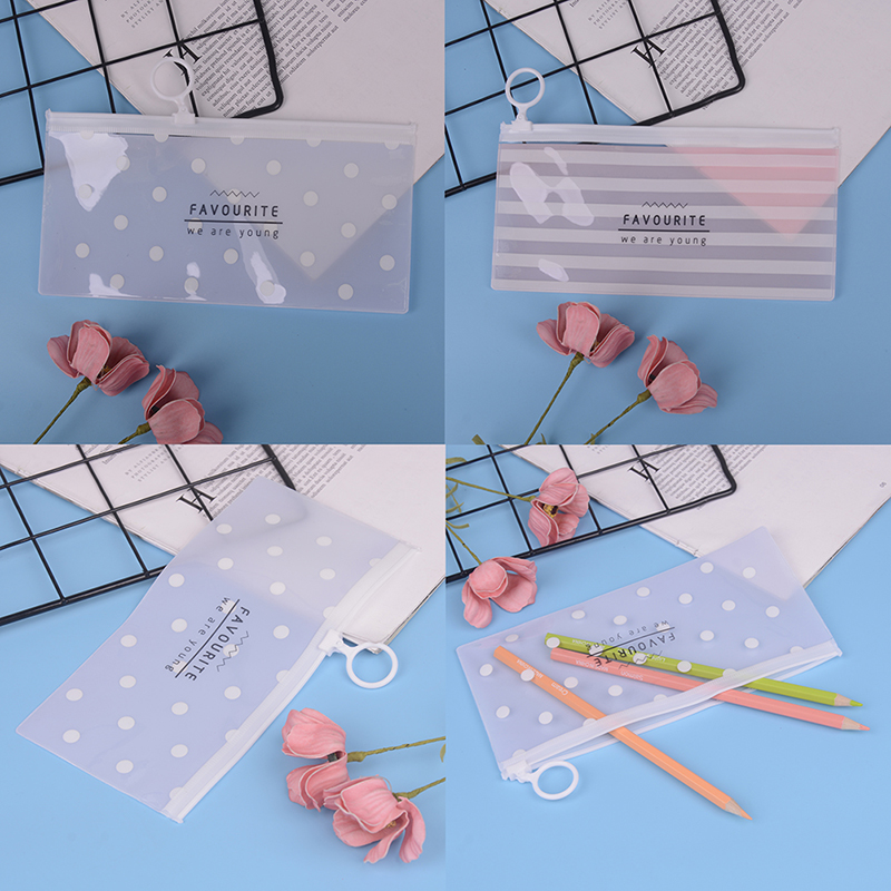 1 Pieces Korea School Stationery Lovely Cute Kawaii Creative PVC Envelope To Receive Bag Fresh Translucent Folder 18.8*9.3cm