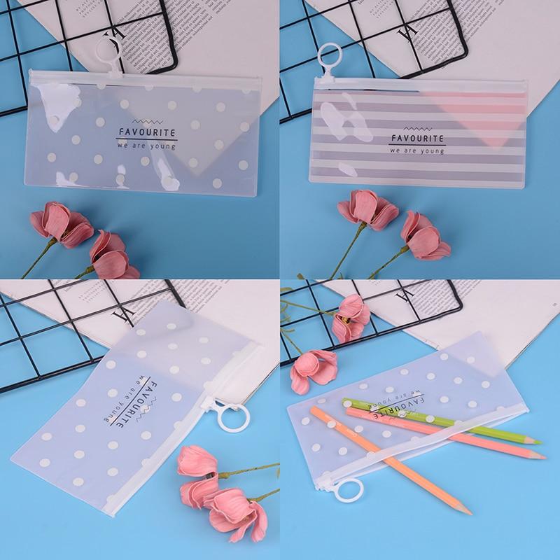 1 Pieces Korea School Stationery Lovely Cute Kawaii Creative PVC Envelope To Receive Bag Fresh Translucent Folder 18.8*9.3cm