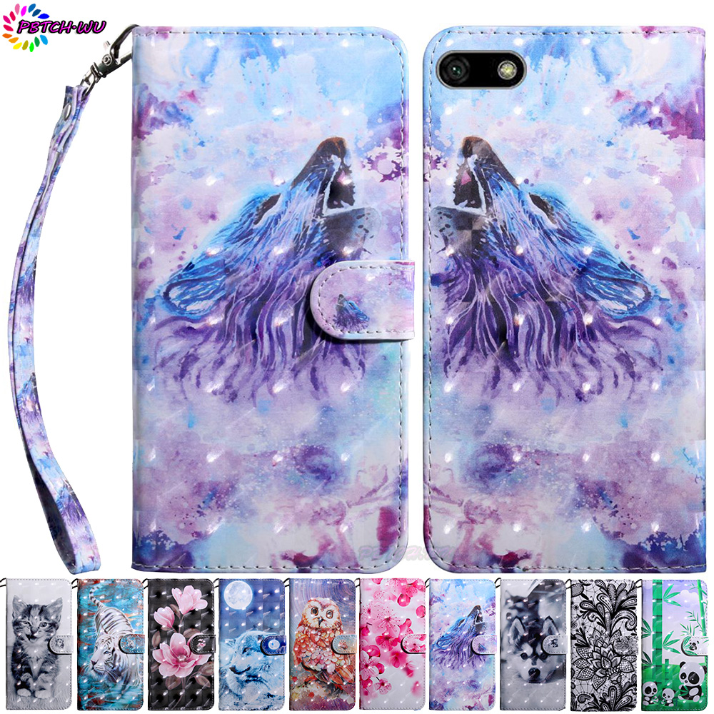 Phone Case For Huawei <font><b>Honor</b></font> <font><b>7A</b></font> <font><b>DUA</b></font>-<font><b>L22</b></font> <font><b>DUA</b></font>-LX2 Flip Wallet PU Cover For Huawei Honor7A <font><b>DUA</b></font> <font><b>L22</b></font> LX2 <font><b>3D</b></font> Painted TPU Silicone Box image