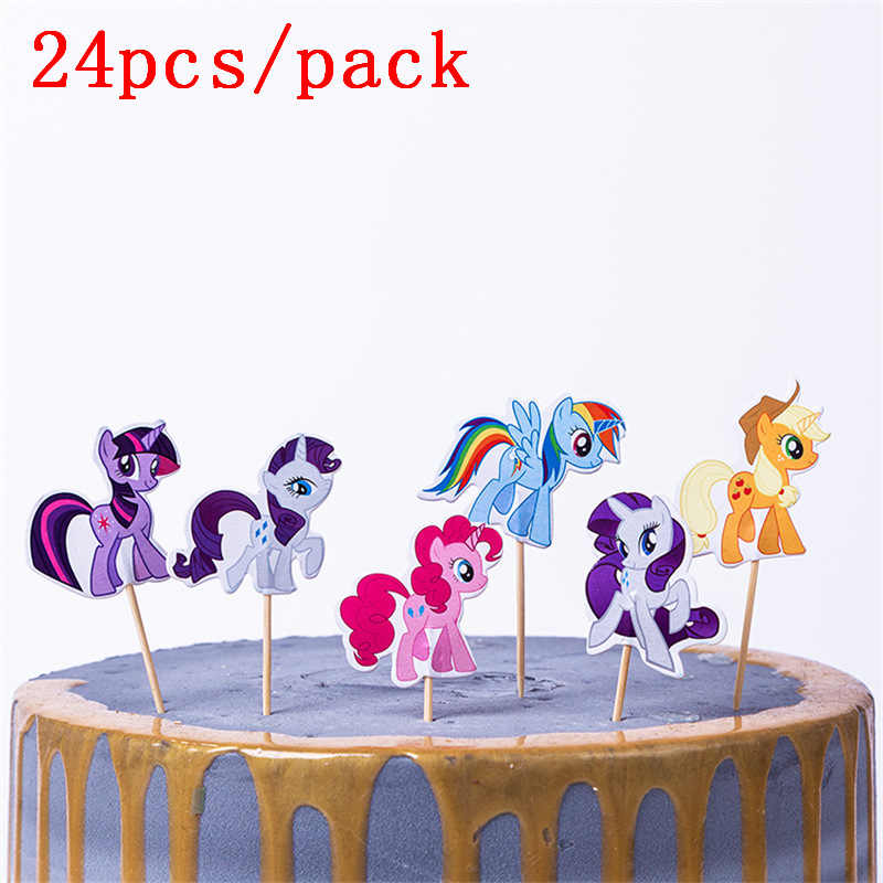 24 stks/partij Cartoon My little pony Cupcake Topper Picks Verjaardag/Wedding Party Decoraties Kids Party Gunsten Partij Decoratie