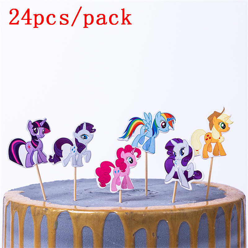 24Pcs/lot Cartoon My little pony Cupcake Topper Picks Birthday/Wedding Party Decorations Kids Party Favors Party Decoration(China)