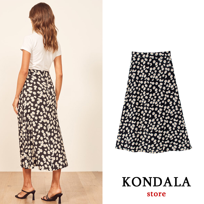 Office Lady Chiffon Skirt Floral Printed Casual Long Za Skirt Small Daisies Womens Ancle Length Za 2020 Ropa Mujer  Jupe Femme