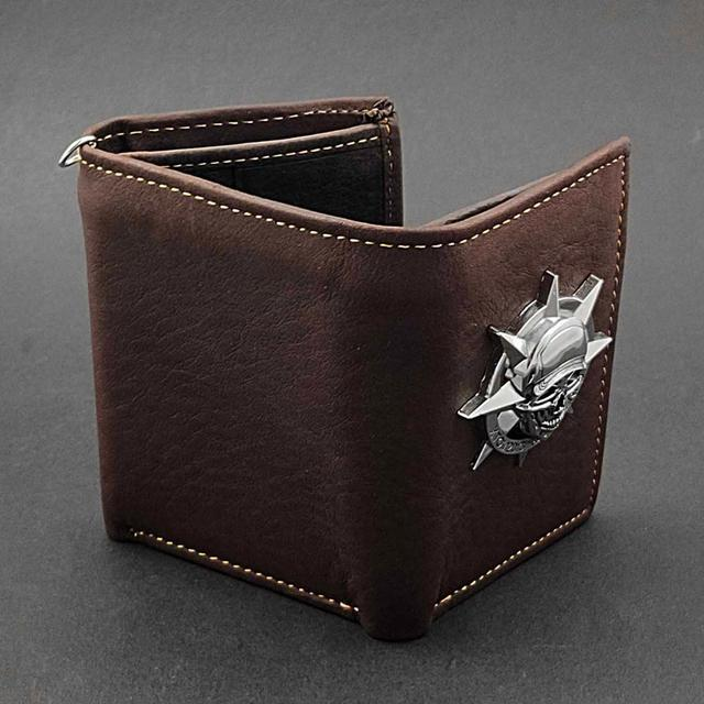 GENUINE COW LEATHER SKULL CHAIN WALLET