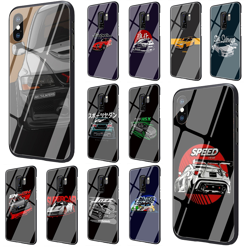 car eat sleep JDM Tempered Glass phone case for Samsung S7 Edge S8 S9 S10 Plus Note 8 9 10 A10 20 30 <font><b>40</b></font> <font><b>50</b></font> <font><b>60</b></font> 70 image