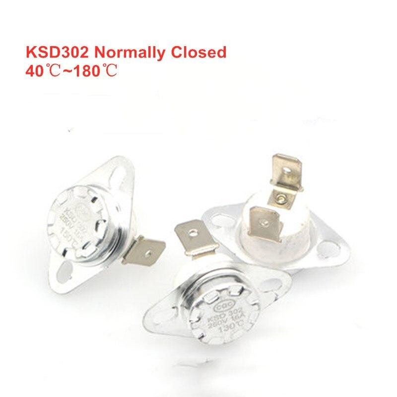 KSD302 16A 250V 40-180 Degree Ceramic  KSD301 Normally Closed Temperature Switch Thermostat 45 55 60 65 70 75 80 85