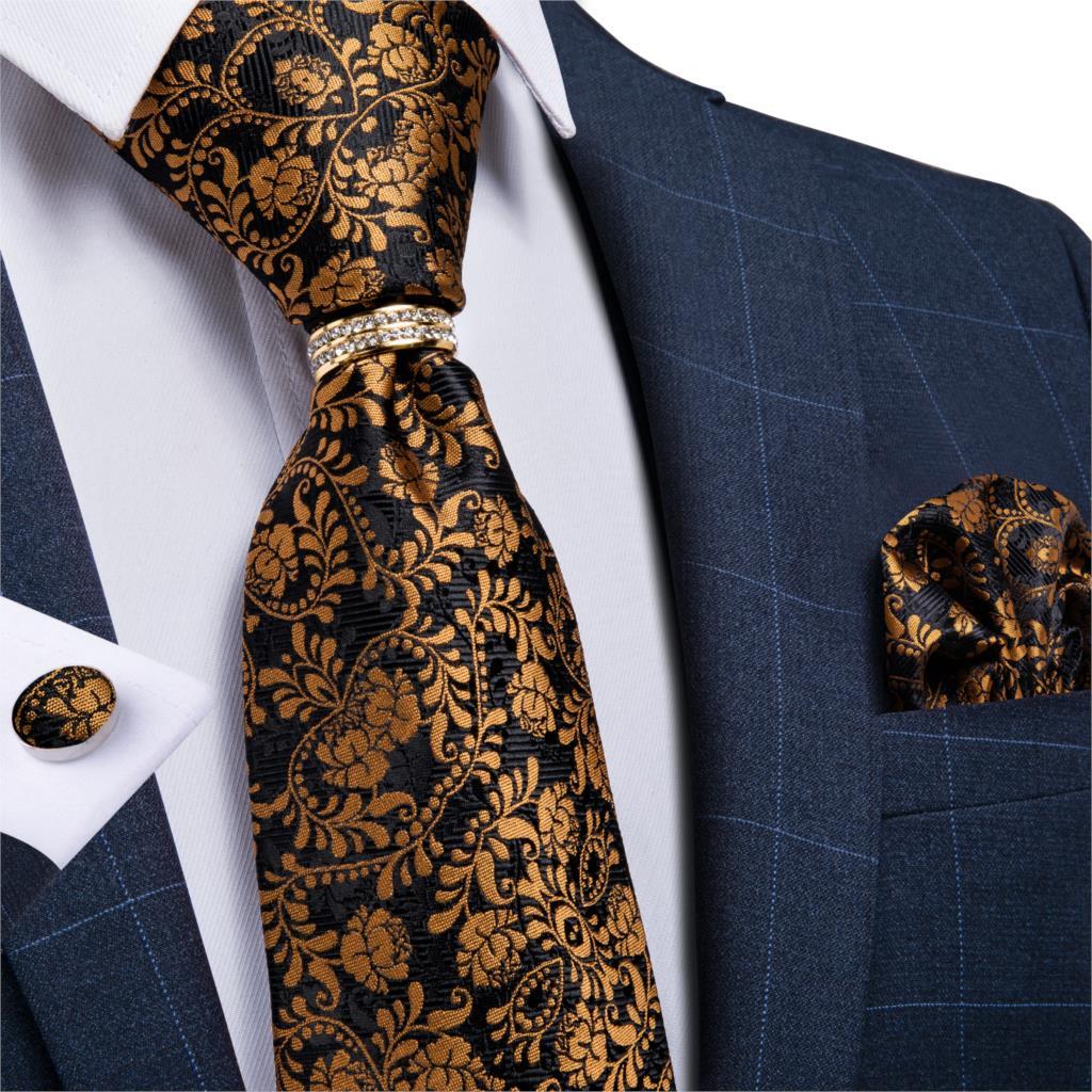 Brown Mens Tie Silk Woven NeckTie Hanky Cufflink Set for Business Wedding Graduation Party