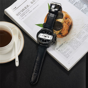 Image 5 - Oulm 새로운 디자인 남자 시계 럭셔리 브랜드 캐주얼 가죽 손목 시계 빅 사이즈 스포츠 남성 쿼츠 시계 relogio masculino