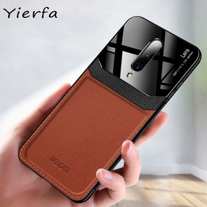 Case For Oneplus 7 Phone Case PU Leather Mirror Plexiglass Silicone Shockproof Bumper For One plus 6 6T 7T Pro 8 Back Cover Coqu(China)