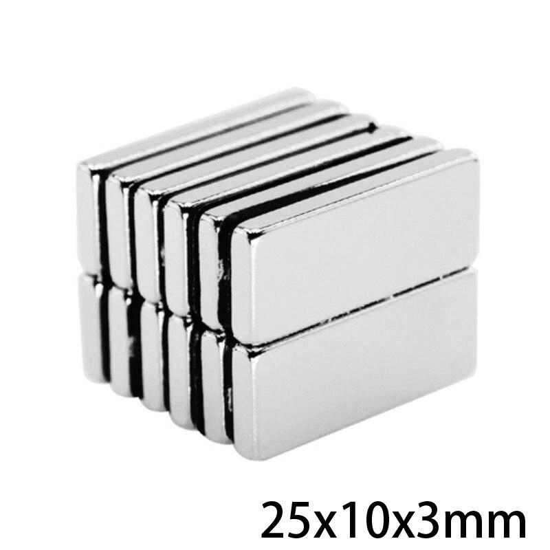 10-50pcs Strong Block Rare Earth Neodymium Magnets Rectangular 25x10x3mm