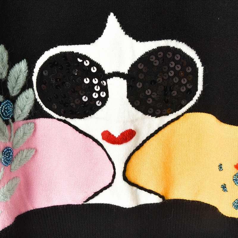 겨울 새로운 명암 스트 라이프 슬리브 수 놓은 잎 페르시 스팽글 선글라스 여자 니트 스웨터 풀오버 여성
