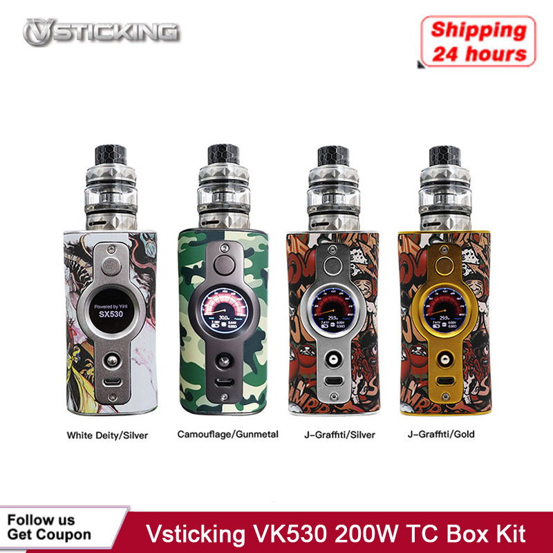 Electronic Cigarette Vsticking VK530 200W TC Box Mod Kit YiHi SX530 Chip Powered By Dual 18650 Battery Vape Vaporizer