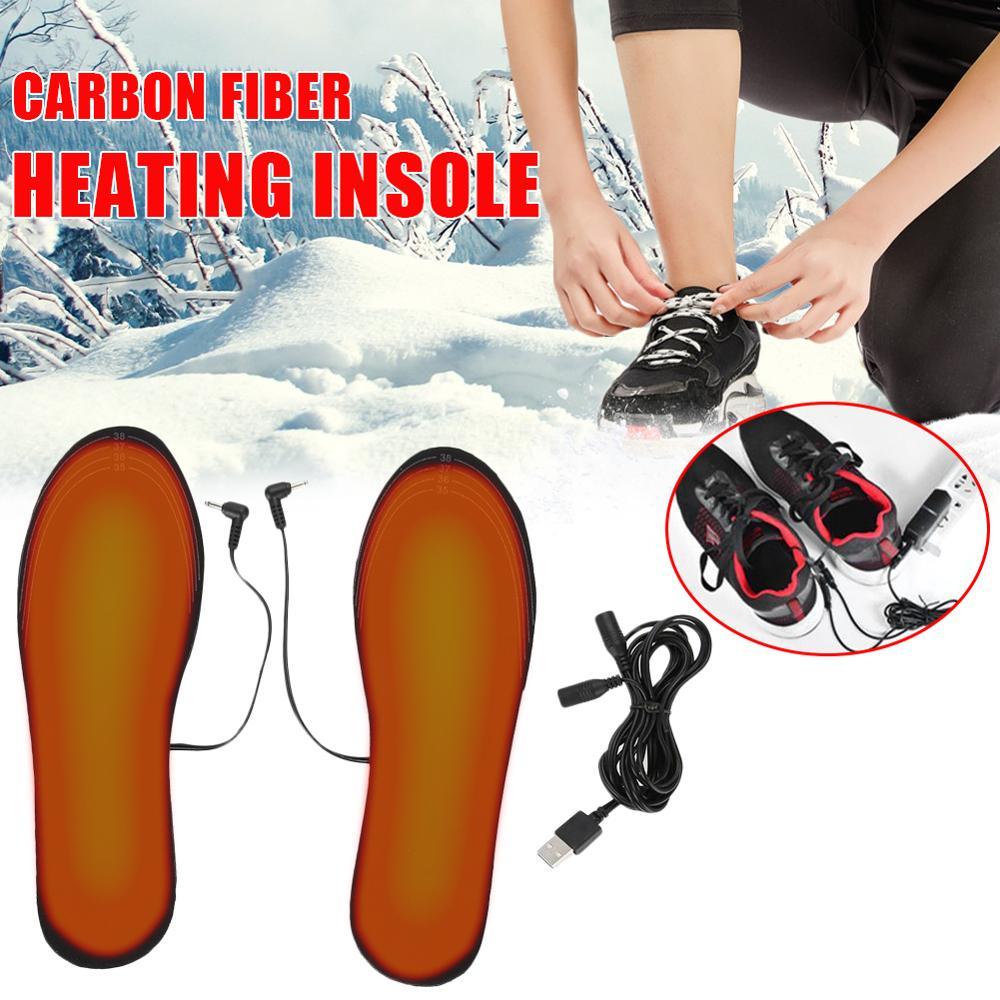 Plantillas de zapatos calentadas por USB, calentador Unisex, calcetín, alfombrilla para pies, plantilla de calefacción de invierno caliente, corte de zapato de gran tamaño 35-46, capacidad de 3,8 cm