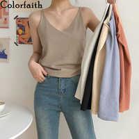 Colorfaith Neue 2020 Frühling Sommer Frauen Tops Knitting Solid Multi Farben Tank Sexy Grund Dame Bodenbildung V-ausschnitt Weste Tops V6225