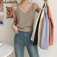 Colorfaith nowy 2020 wiosna lato kobiety topy Knitting stałe wiele kolorów Tank Sexy podstawowe pani najniższy dekolt kamizelka topy V6225