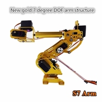 Gold 7 Degrees of Freedom Mechanical Arm Structural Parts , Seven axis Robot Abb Industrial Robot Model + Steering Gear