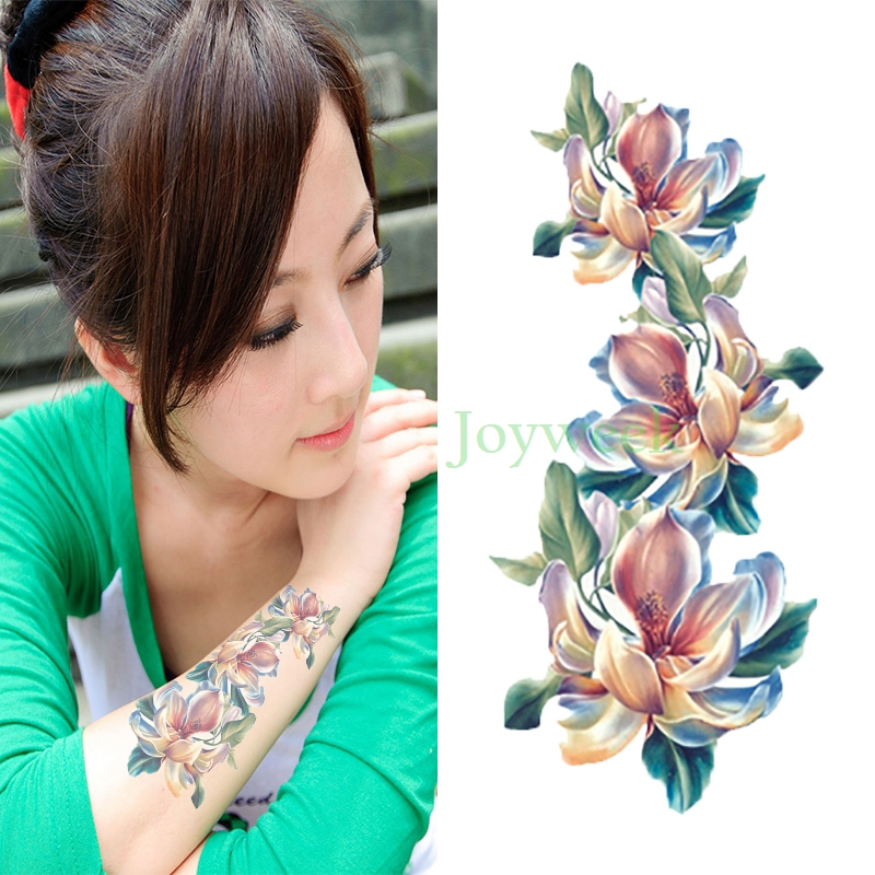 Waterproof Temporary Tattoo Sticker Orchid Flower Women's Body Art Tatto Stickers Flash Tatoo Fake Tattoos For Girl 7