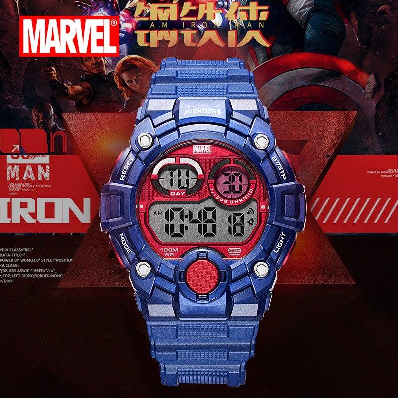 Бренд disney MARVEL мужские наручные часы цифровые 100 м Водонепроницаемые многофункциональные мужские часы светодиодный Будильник