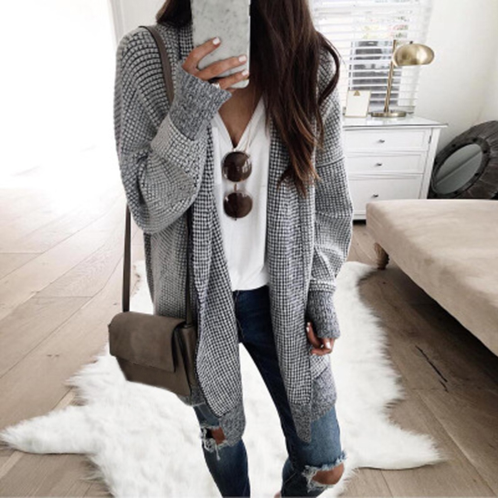 CYSINCOS Winter Long Knitted Sweater Long Cardigan Women Open Stitch Vintage Plaid Cardigan Female Casual Autumn Coat Outwear in Cardigans from Women 39 s Clothing